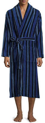 Derek Rose Men's Aston 34 Striped Velour Robe
