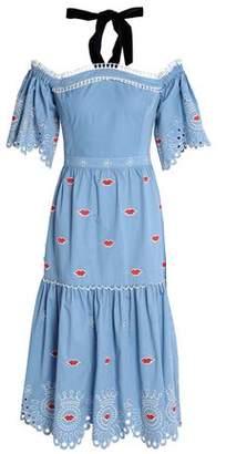 Temperley London Calligraphy Embroidered Cotton-Poplin Halterneck Dress
