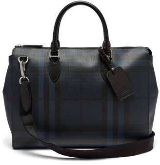 Burberry London Check Leather Tote - Mens - Black Navy