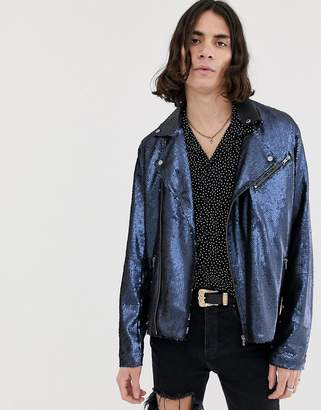 Asos Design DESIGN Festival sequin biker jacket in navy