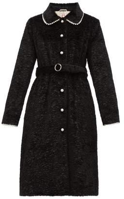 Shrimps Pegasus Pearl Embellished Faux Fur Coat - Womens - Black