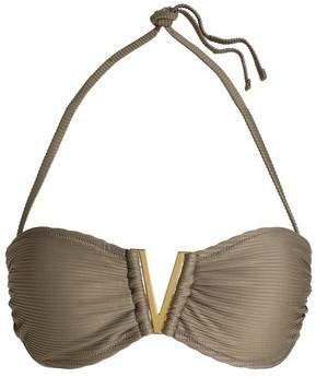 Embellished Ribbed Bandeau Bikini Top