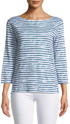 Neiman Marcus Majestic Paris for 3/4-Sleeve Dyed-Stripe Linen T-Shirt