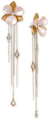 Betsey Johnson Two-Tone Crystal and Enamel Flower & Fringe Drop Earrings