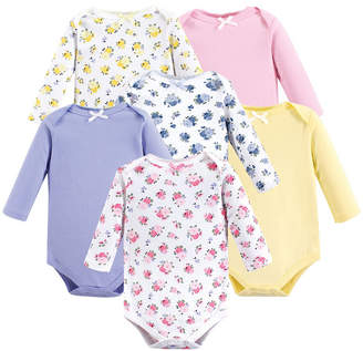 Baby Vision Luvable Friends Unisex Baby Long-Sleeve Bodysuits, Floral 6-Pack, 0-24 Months