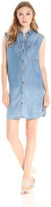 True Religion Women's Sleeveless Chambray Utility Dress
