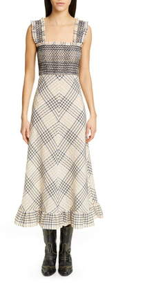 Ganni Check Seersucker A-Line Midi Sundress