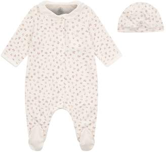 Petit Bateau Floral All-In-One and Hat Set
