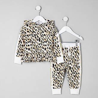 River Island Mini girls cream leopard print hoodie set