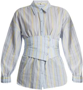 Tibi Corset-detail striped cotton-blend shirt