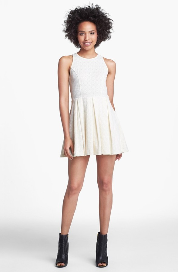 Jessica Simpson 'Charity' Jacquard Fit & Flare Dress