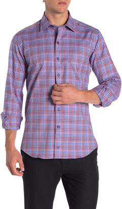 David Donahue Spread Collar Casual Fit Sport Shirt