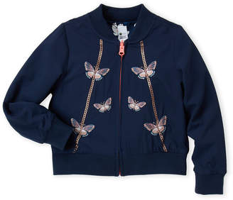 Petit Lem Girls 4-6x) Navy Butterfly Reversible Bomber Jacket