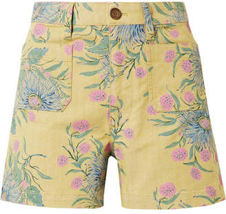 Madewell Emmett Floral-print Cotton-blend Twill Shorts - Yellow