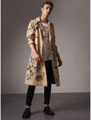 Burberry Doodle Print Cotton Gabardine Trench Coat