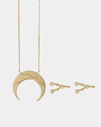 Wanderlust + Co Cancer Crescent Zodiac Necklace and Earrings Set