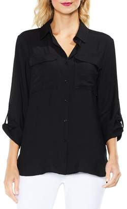 Vince Camuto Hammered Satin Utility Shirt
