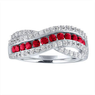 FINE JEWELRY Womens Lab Created Red Ruby Sterling Silver Cocktail Ring