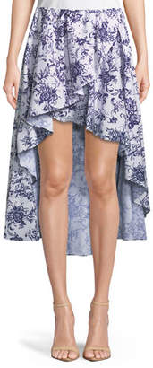 Caroline Constas Adelle Floral-Print Cotton Tulip High-Low Skirt