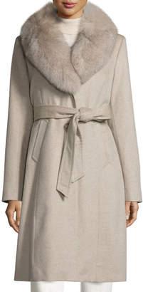 Sofia Cashmere Fur-Collar Wrap Coat