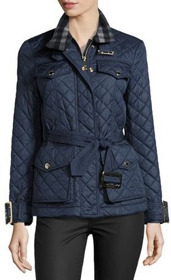 Burberry Haddingfield Quilted Jacket, Blue $850 thestylecure.com