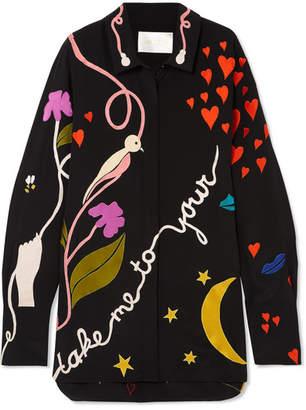Stine Goya Virgo Appliquéd Silk Shirt - Black
