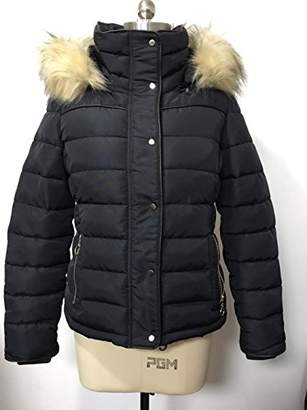 Royal Matrix Women's Heavy Short Quilted Puffer Coat Removable Faux Fur (