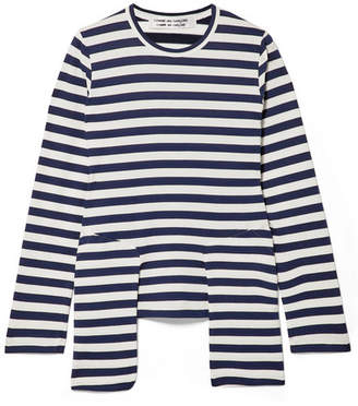 Comme des Garcons Layered Striped Cotton-jersey Top - Midnight blue