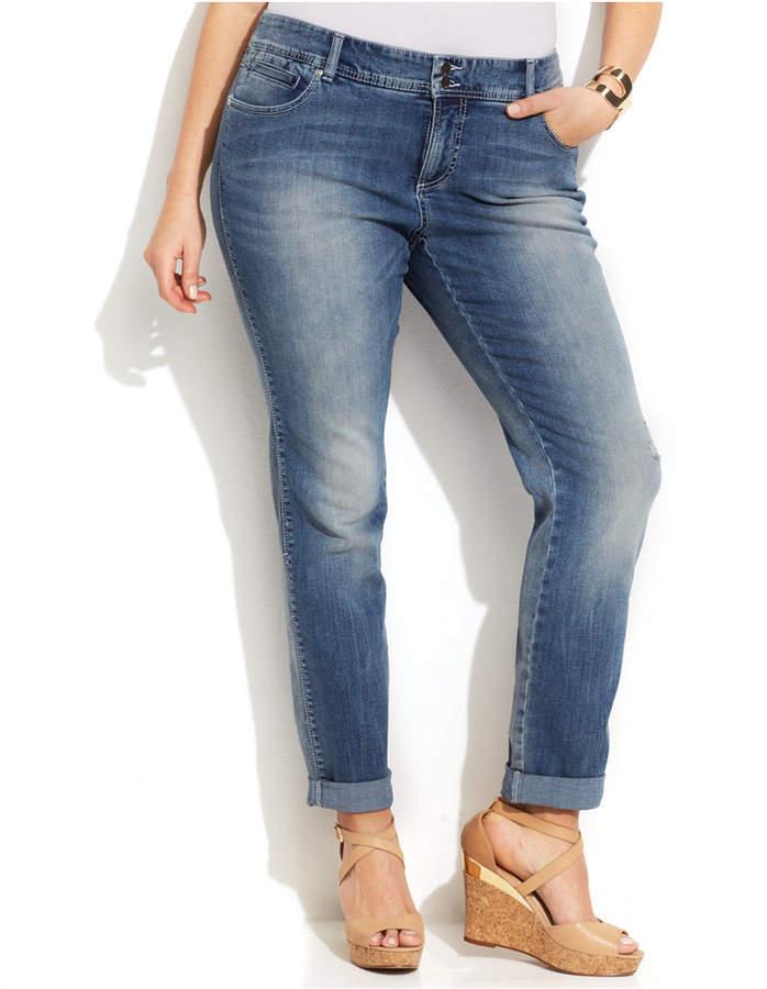 INC International Concepts Plus Size Tummy Control Boyfriend Jeans