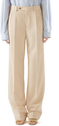 Gucci Masculine Straight-Leg Cuffed Wool Pants