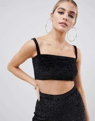 Fashionkilla square neck crop top Two-piece in black glitter
