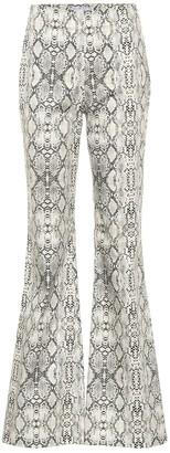 Les Rêveries Snakeskin-printed flared pants