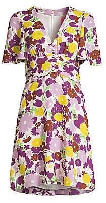 Kate Spade Women's Floral Plissé A-Line Swing Dress