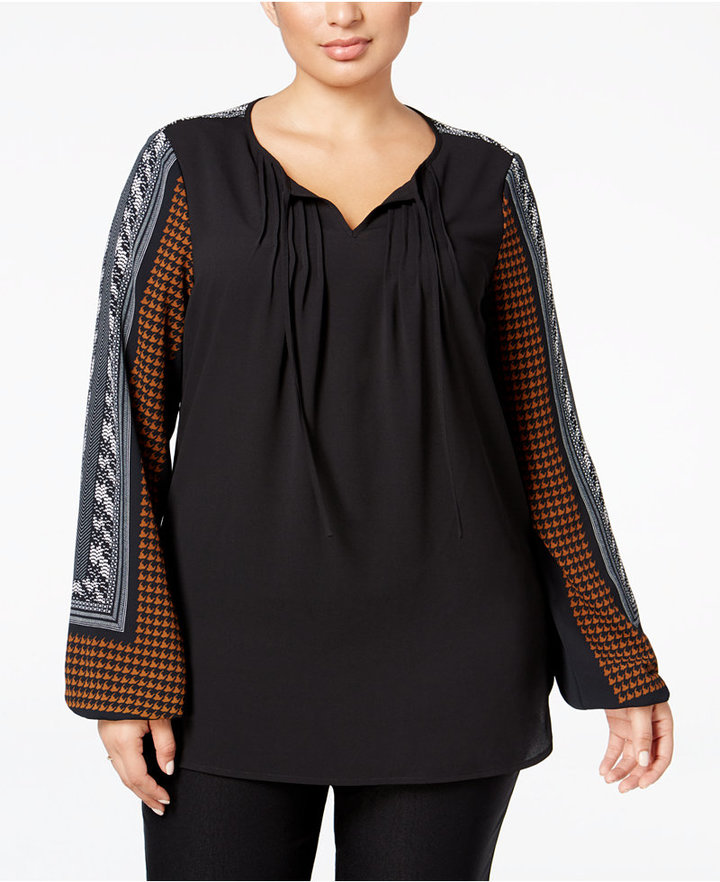 Alfani Alfani Plus Size Printed Peasant Blouse, Only at Macy's