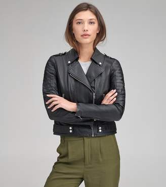 Andrew Marc LEANNE FAUX LEATHER MOTO JACKET