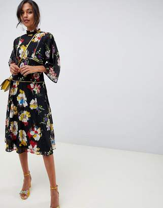 Asos Design DESIGN high neck midi dress in grid floral with long sleeves
