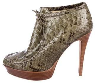 Alexandre Birman Python Lace-Up Ankle Booties