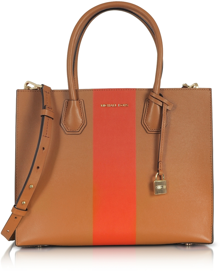MICHAEL Michael Kors Michael Kors Mercer Large Acorn & Orange Center Stripe Leather Convertible Tote Bag