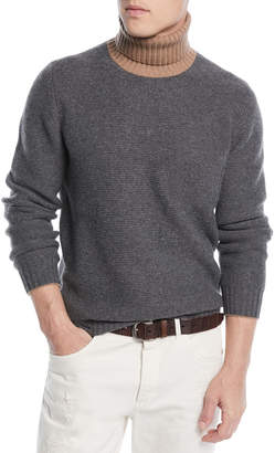 Brunello Cucinelli Men's Bicolor Wool-Blend Turtleneck Sweater