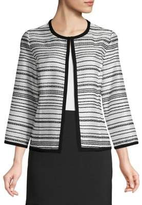 Kasper Striped Three-Quarter-Sleeve Jacket