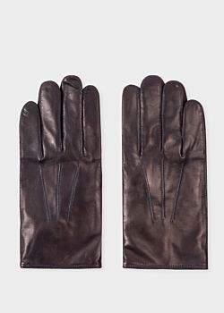 Paul Smith Men's Navy Leather Gloves