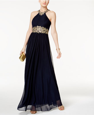 Betsy & Adam Pleated Embroidered Halter Gown $249 thestylecure.com
