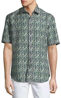 Brioni Geometric Linen-Blend Short-Sleeve Sport Shirt