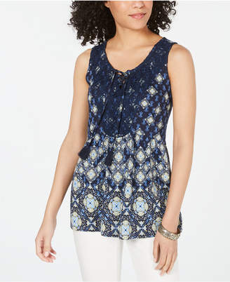Style&Co. Style & Co Printed Lace-Up Sleeveless Top