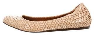 Lanvin Snakeskin Round-Toe Ballet Flats