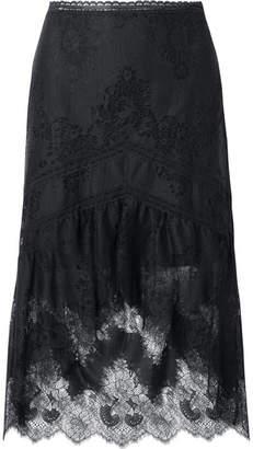 Alice + Olivia (アリス オリビア) - Alice + Olivia - Triss Asymmetric Tulle And Lace Midi Skirt - Black