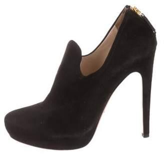 Prada Suede Round-Toe Ankle Boots Black Suede Round-Toe Ankle Boots