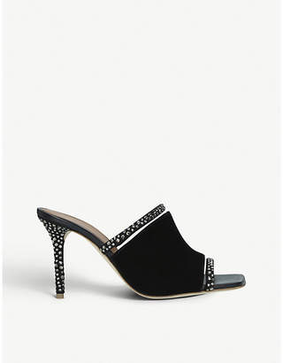 Malone Souliers Laney 85 crystal-embellished suede heeled mules