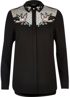 River Island River Island Womens Black swallow embroidered mesh collar shirt