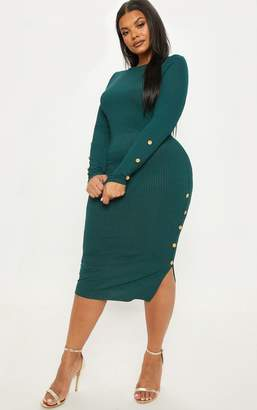 17a07186eedc6 PrettyLittleThing Plus Emerald Green Ribbed Tortoise Button Detail Midi  Dress
